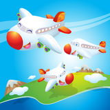 Cute plane flying. Cute plane happy flying in the sky Stock Photos