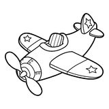 Cute plane outline. Vector illustration of cute cartoon plane without pilot for children, coloring and scrap book vector illustration