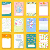 Cute planner children notebooks print design funny organizer greeting note card template vector illustration. Royalty Free Stock Image