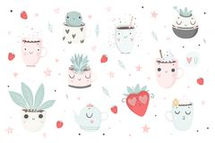 Cute plants, cups and strawberry isolated illustration for children. Vector image. Perfect for nursery posters, patterns, party invitation, cards, tags etc Stock Photography