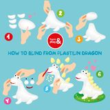 Cute Plasticine Dragon Step Instruction for Kid royalty free illustration