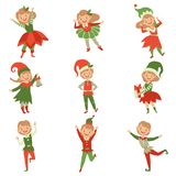 Cute playful boys and girls in elf costumes, little Santa Claus helpers characters vector Illustration on a white. Cute playful boys and girls in elf costumes royalty free illustration