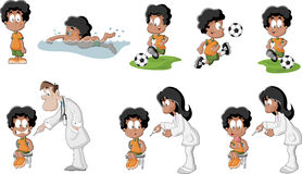 Cute playful cartoon black boy Stock Images