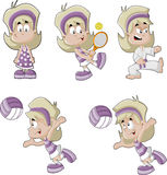 Cute playful cartoon blonde girl Royalty Free Stock Images