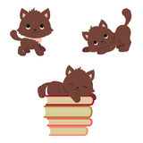 Cute playful kittens icons set Stock Photo