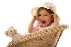 Cute playful little girl with her toy Royalty Free Stock Image