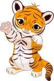 Cute playful tiger cub vector illustration