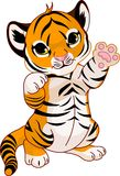 Cute playful tiger cub vector illustration