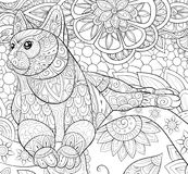 Adult coloring book,page a cute cat on the floral background for relaxing.Zen art style illustration. Royalty Free Stock Photo