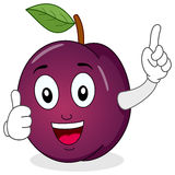 Cute Plum Character with Thumbs Up. A funny cartoon violet plum character smiling with thumbs up, isolated on white background. Eps file available Stock Image