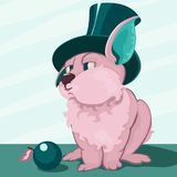 Cute plump rabbit in a hat-cylinder. Pink cute rabbit in green hat with green ears. Next to a green apple. Drawing cartoon decorative. Has a vector format Stock Photo