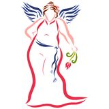 Cute plump woman in evening dress with flower and hairdo.  royalty free illustration