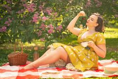 Cute plus size caucasian girl wearing a cute vintage yellow dress and enjoying a vacation in the summer Park on the green grass. c. Urvy pinup woman in retro stock image