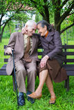 Cute 80 plus year old married couple posing for a portrait in their garden. Love forever concept Stock Photos