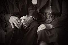Cute 80 plus year old married couple posing for a portrait in their house. Love forever concept.  royalty free stock images