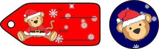 Cute plush baby monkey cartoon santa claus costume giftcard Royalty Free Stock Photo