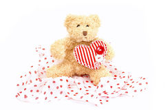 Cute plush bear with heart on valentine's day Royalty Free Stock Images