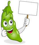 Cute Pod of Peas Holding a Blank Banner Stock Image