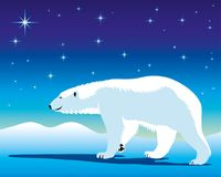 Cute polar bear. Polar bear against the background of arctic nature stock illustration