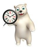 Cute Polar bear cartoon character with clock. 3d rendered illustration of Polar bear cartoon character with clock Royalty Free Stock Photos