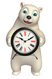 Cute Polar bear cartoon character with clock Royalty Free Stock Photos