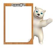 Cute  Polar bear cartoon character with exam pad Stock Image