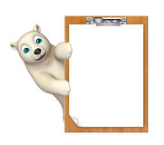 Cute  Polar bear cartoon character with exam pad Stock Photo