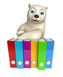 Cute  Polar bear cartoon character with files Royalty Free Stock Photo