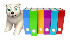 Cute  Polar bear cartoon character with files Royalty Free Stock Photography