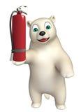 Cute Polar bear cartoon character with fire extinguisher. 3d rendered illustration of Polar bear cartoon character with fire extinguisher Stock Photo