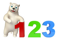 Cute Polar bear cartoon character with 123 sign. 3d rendered illustration of Polar bear cartoon character with 123 sign royalty free illustration