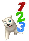 Cute Polar bear cartoon character with 123 sign. 3d rendered illustration of Polar bear cartoon character with 123 sign vector illustration