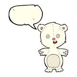 Cute polar bear cartoon with speech bubble Royalty Free Stock Image
