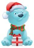 Cute polar bear with christmas present Stock Photo
