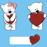 Cute polar bear girl and boy cartoon Royalty Free Stock Image
