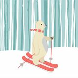 Cute Polar Bear Happy  skiing. Vector illustration, Flat and minimal vector eps file With Copy Space Flat Vector Illustration Stock Photos