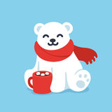 Cute polar bear with hot chocolate cup. Cute cartoon polar bear in red scarf with hot chocolate cup. Christmas and winter holidays greeting card vector royalty free illustration
