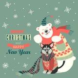 Cute polar bear and husky celebrating Christmas Stock Photos