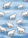 Cute polar bear illustration cartoon pattern background coloring drawing illustration white background Stock Photography