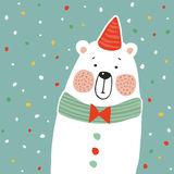 Cute polar bear with party hat and paper. confetti, kids poster or birthday greeting card,  illustration Stock Photos