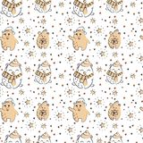 Cute polar bear seamless winter pattern vector illustration