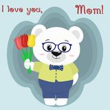 A nice polar bear holds three tulips. Congratulations on your mother`s day, in the style of cartoons. Stock Images