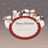 Cute polar bears celebrating Christmas. Vector group of cute polar bears friends celebrating Christmas Royalty Free Illustration