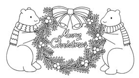 Cute polar bears holding Christmas wreath with hand drawn typo Merry Christmas, for illustration and coloring book page. Cute  polar bears holding Christmas Stock Image