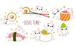Cute polar bears with japanese sushi and rolls royalty free stock image