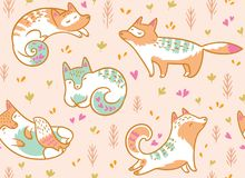 Cute polar foxes seamless pattern. Hand drawn vector illustration in cartoon style. Seamless pattern with cute cartoon arctic foxes in pink floral background stock illustration