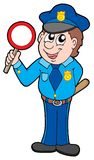 Cute policeman with stop sign Royalty Free Stock Images