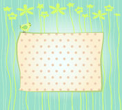 Cute polka dots background. The light background with polka dots and flower ornate in scrapbooks style Stock Photo