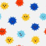 Cute pompons with a face. Different emotions. Bright seamless pattern stock photo