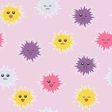 Cute pompons with a face. Different emotions. Bright seamless pattern stock image